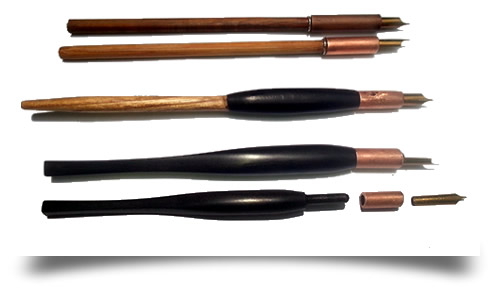straight dip pen holders with copper collar for easy removal of nib
